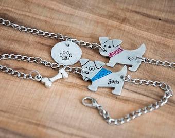 Dog bracelet, bracelet with customized dog pendant, doggy bracelets, bracelet with your pet, your dog pendant, chain bracelet with cute dog