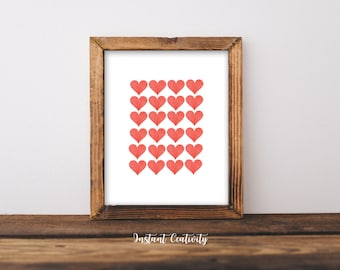 Valentines Day Decor, Valentines Print, ON SALE, Printable Art, Gold Hearts, Print Wall Art, I Love You, Heart, Gallery Wall