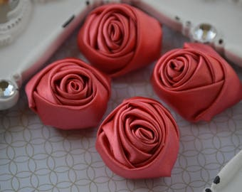 """1.5"""" Coral Satin Fabric Roses, Satin Rolled Rosettes, Satin Flowers, Rolled Roses, Rolled Satin Roses, Satin Flowers, Satin Roses"""