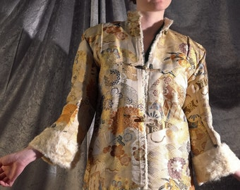 Incredible RARE COLLECTABLE Chinese gold floral brocade silk faille jacket with huge turn back cuffs & fur lining