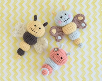 PATTERN - Bug rattles - Butterfly, Bee and Caterpillar - crochet amigurumi pattern, PDF (English, Dutch)