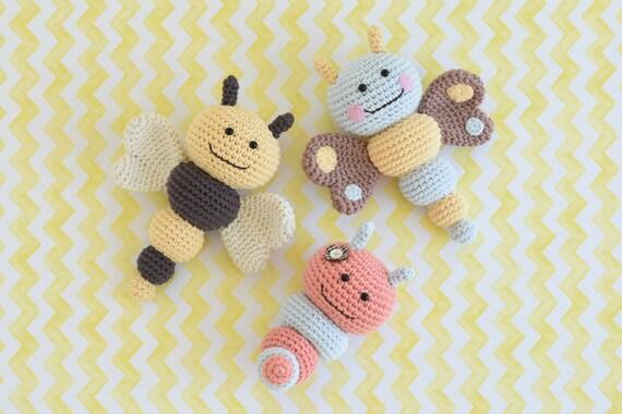 Amigurumi Caterpillar : Pattern bug rattles butterfly bee and caterpillar
