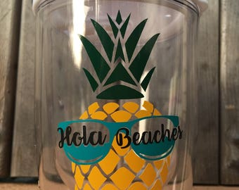 Personalized Wine Tumbler, Pineapple Hola Beaches