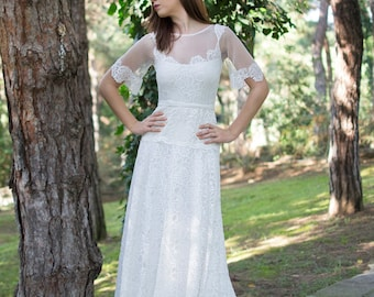 Lace Wedding Dress, SuzannaM Designs, Off White Wedding, Bohemian Wedding Dress, Boho Wedding Dress, Bridal, Long Wedding Gown, Victorie