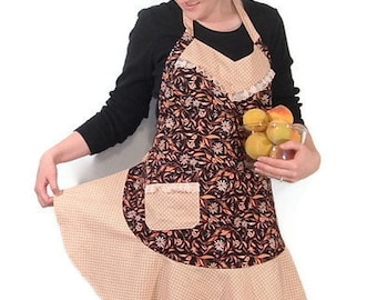 Womens Full Apron/ Daisies/ Peach/Black/Polka Dot