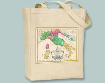 Vintage Map of Italy on Natural or Black Tote  -  Selection of sizes available