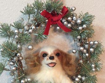 custom made needle felted dog lighted christmas wreath
