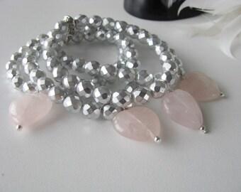 Wedding Party Jewelry Great Bridesmaids gifts Silver grey Rose Quartz Stretch Bracelet