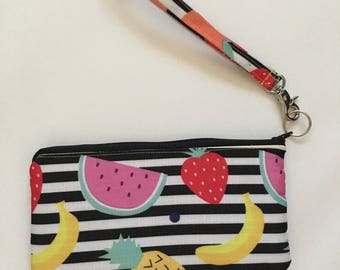 Striped Wristlet, Black and White Wristlet, Wrist Wallet, Small Purse