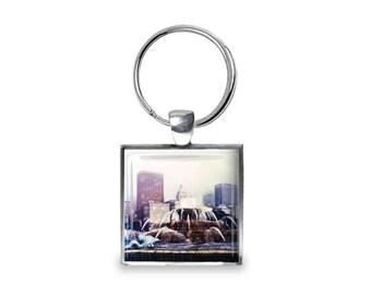 Buckingham Fountain - Glass Photo Keychain - Handmade