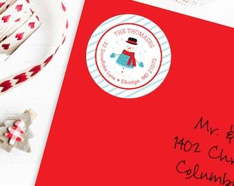 Christmas Address Labels - Snowman - Sheet of 24