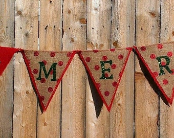 Be Merry Burlap Christmas Banner with Red Polka Dots and Green Glitter Letters Custom Banner