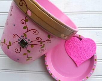 Peint la conception de vigne Pot - cuivre et rose - fleur - pot rustique - rose pot - Pot de fleur rose
