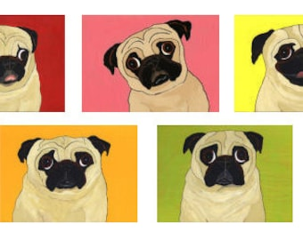 Fawn Pug Note Cards - 5 Designs