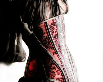 Goth under-bust corset, red and black flocked taffeta.