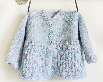 Knitted Blue & Pink Matinee Coat, Baby Sweater, Baby Coat, Baby Cardigan, Matinee Sweater, Infant Matinee sweater, Hand Knit, Baby Knits
