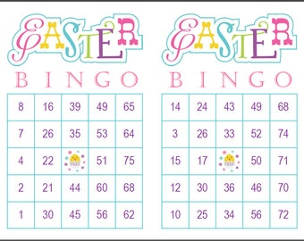 Easter Bingo Game Cards, 200 cards, 2 per page, 75 call, immediate pdf download