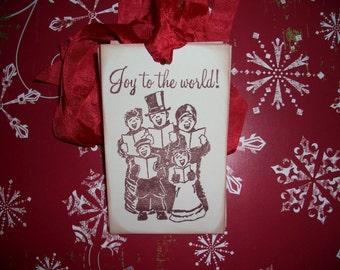Christmas Tags - Vintage Carolers-Joy to the World-Set of Six