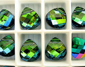 2 Aquamarine Green Sphinx Swarovski Crystals Pendants Briolette 6012 11mm