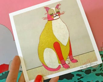 Scaredy Cat - Mini Art Print