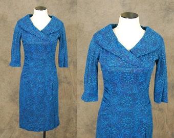 vintage 50s Cocktail Dress - Hourglass Blue Paisley Shawl Collar Dress - 1950s Wool Wiggle Dress Sz S