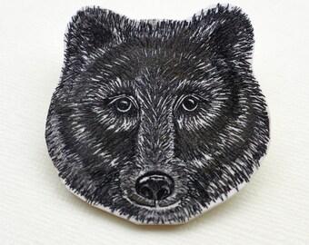 Bear Brooch, bear badge, handmade, linocut print
