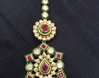 kundan Mang Tika, Maang Tikka, Matha patti, Indian Wedding Jewelry, Indian Head piece, abaya jewelry, hijab jewelry, Rajasthani Jewelry