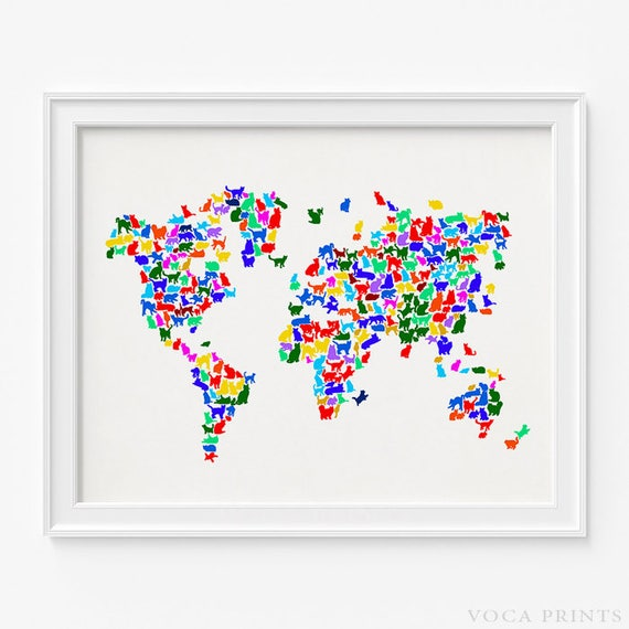 Cat world map print cats world map world map poster 2 gumiabroncs Image collections