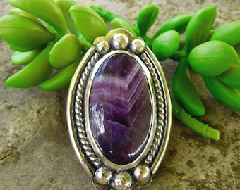 Chevron Amethyst sterling silver ring | size 8 ring  | silver stone ring | Artisan stone statement ring | Purple oval | Large cocktail ring