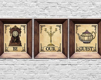 Be Our Guest - Set of 3 Prints - Beauty and the Beast Prints - Vintage Style Disney Posters - 5x7, 8x10, 11x14, 16x20, 18x24, 20x24, 24x36