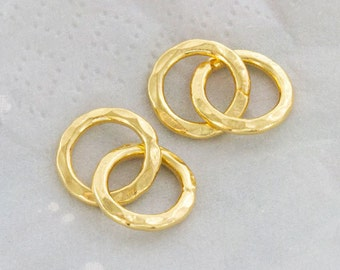 2 of Karen hill tribe 24k Vermeil Style Double Hammered Circle Rings Charms 12 mm. :vm0735