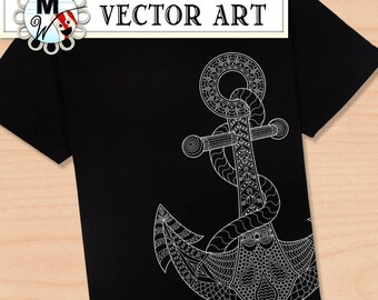 Anchor Vector Art - Anchor Digital Stamp - Anchor Clip Art - Nautical Digital Art - Anchor Art Print - Vector Graphics - Anchor Image