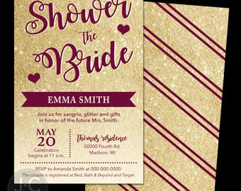 """Shower the Bride - 5x7"""" Bridal Shower Invitation & Envelopes, DIY"""