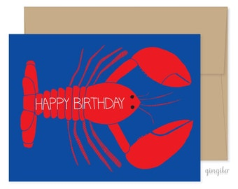 8 Happy Birthday Lobster Cards, Lobster Boxed Set, Lobster Birthday Card, Lobster Greeting Cards, Lobster Stationery