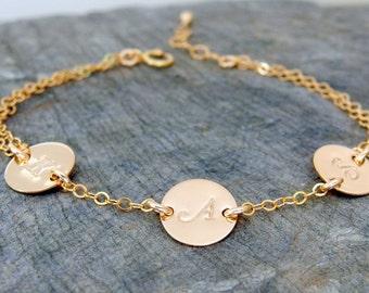 Initial bracelet Personalized bracelet Hand stamped Initial jewelry Mother initial bracelet Monogram bracelet Letter bracelet gift for mom
