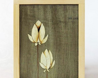 Marquetry frame in Cedar - Flowers floral inlaid marquetry with cedar frame