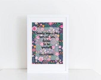 Wall decor quote prints Beauty Beautiful Positive Art Nursery Classroom Home Printable Fashion Coco Chanel