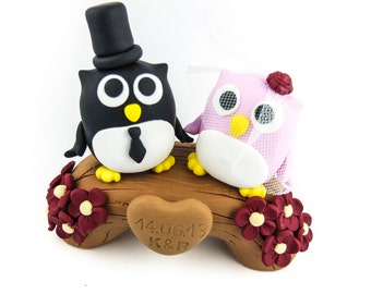 Owl couple wedding cake toppers