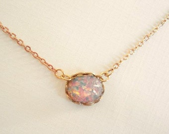 Opal Necklace Pink Fire Opal Necklace Harlequin Vintage Glass Opal Necklace Rose Gold Filled Chain Opal Jewelry