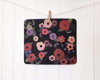 mousepad / Mouse Pad / Mat - Darling Gouache Flowers on Black