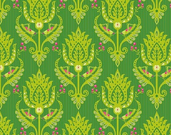 "End of Bolt, Primavera Damask in Green Cotton Fabric by Patty Young for Riley Blake 18""x44"""