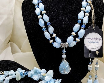 Aquamarine, Mother of Pearl and Swarovski Crystal Double Strand Necklace, Wire Wrapped