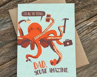 funny birthday card for dad / father's day / octopus