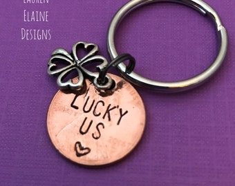 Hand Stamped Lucky Us Penny Keychain with Four Leaf Clover- Anniversary Gift- Choose the Year
