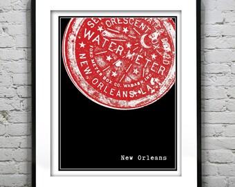 New Orleans Water Meter Art Print Poster  Original Louisiana Version 3
