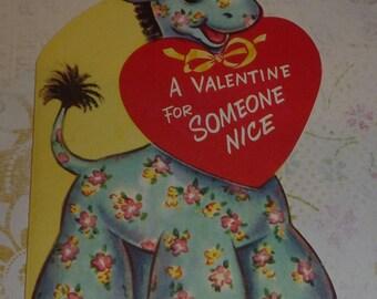 Giraffe With A Valentine Folding Rustcraft Vintage Card