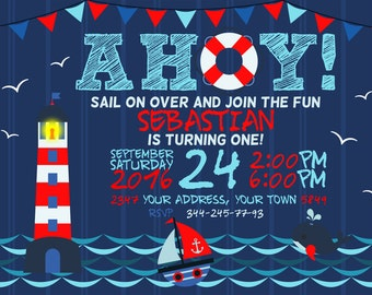Nautical Invitation. Nautical Birthday Invitation. Nautical Birthday Party. Nautical Party Invite. Sailing ship Invite. 1st Birthday.