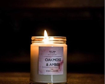 OAKMOSS & AMBER Soy Candle, Scented Candle, 9 oz Candle