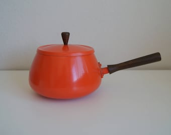 Awesome Retro Orange Fondue Pot with Wooden Handle