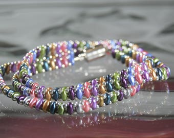 Multi-colored Wrap Bracelet, Gifts for Her,Boho Chic, Czech Glass Beads